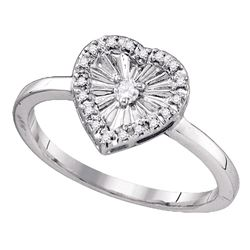 Sterling Silver Round Diamond Framed Heart Ring 1/10 Cttw