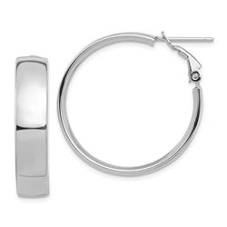 14k White Gold Omega Back Hoop Earrings - 7x29 mm