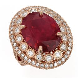 13.85 ctw Certified Ruby & Diamond Victorian Ring 14K Rose Gold
