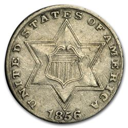 1856 Three Cent Silver XF