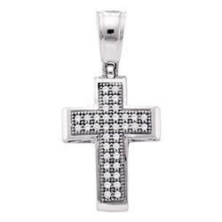 10kt White Gold Round Diamond Small Cross Pendant 1/10 Cttw