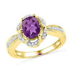 10kt Yellow Gold Oval Lab-Created Amethyst Solitaire Diamond-accent Ring 1-3/4 Cttw