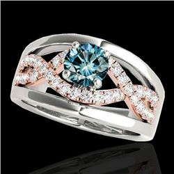 1.3 ctw SI Certified Fancy Blue Diamond Solitaire Ring 10k 2Tone Gold