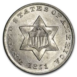 1851 Three Cent Silver BU