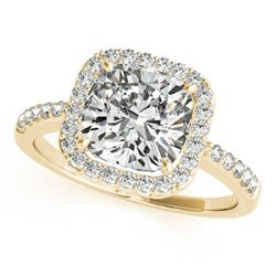 1.01 ctw Certified VS/SI Cushion Diamond Halo Ring 14k Yellow Gold