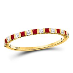 10kt Yellow Gold Princess Ruby Diamond Alternating Stackable Band Ring 3/8 Cttw