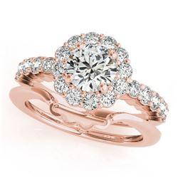 1.75 ctw Certified VS/SI Diamond 2pc Wedding Set Halo 14k Rose Gold