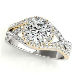 1.5 ctw Certified VS/SI Diamond Solitaire Halo Ring 14k 2Tone Gold