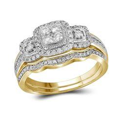 14kt Yellow Gold Round Diamond Bridal Wedding Engagement Ring Band Set 1/2 Cttw