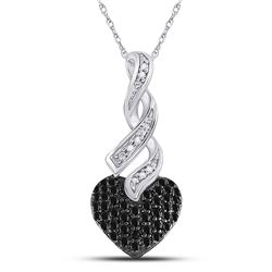 10kt White Gold Round Black Color Enhanced Diamond Heart Pendant 1/3 Cttw