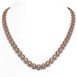 24.4 ctw Cushion Cut Diamond Micro Pave Necklace 18K Rose Gold