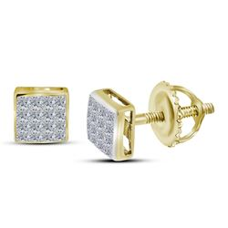 14kt Yellow Gold Princess Diamond Square Cluster Stud Earrings 3/8 Cttw