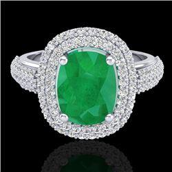 3.50 ctw Emerald & Micro Pave VS/SI Diamond Ring 18k White Gold