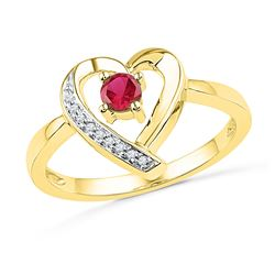 10kt Yellow Gold Round Lab-Created Ruby Heart Ring 1/4 Cttw