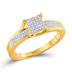 10kt Yellow Gold Round Diamond Elevated Square Cluster Ring 1/6 Cttw