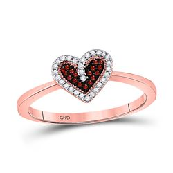 10kt Rose Gold Round Red Color Enhanced Diamond Small Heart Ring 1/10 Cttw