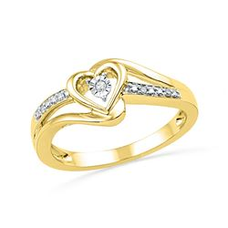 10kt Yellow Gold Round Diamond Heart Promise Bridal Ring .03 Cttw