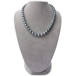 """Dark Silver and Green Round Tahitian Pearl Necklace, 18"""", 8.4-10.9mm, AA+ Quality"""