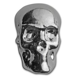 2 oz Hand Poured Silver Skull
