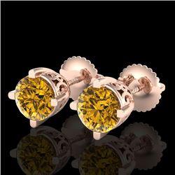 1.5 ctw Intense Fancy Yellow Diamond Art Deco Earrings 18k Rose Gold