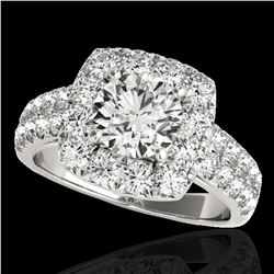 2.25 ctw Certified Diamond Solitaire Halo Ring 10k White Gold
