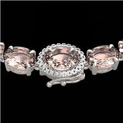 42.25 ctw Morganite & Diamond Eternity Micro Necklace 14k White Gold