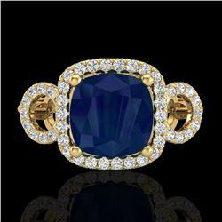 3.15 ctw Sapphire & Micro VS/SI Diamond Certified Ring 18k Yellow Gold