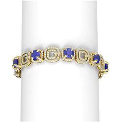 26.1 ctw Sapphire & Diamond Bracelet 18K Yellow Gold