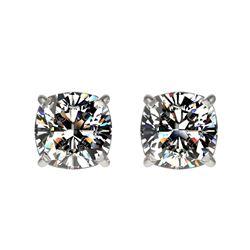 1 ctw Certified VS/SI Quality Cushion Diamond Stud Earrings 10k White Gold