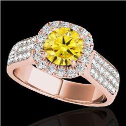 1.8 ctw Certified SI/I Fancy Intense Yellow Diamond Ring 10k Rose Gold