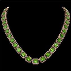 73.41 ctw Peridot & Diamond Micro Pave Halo Necklace 10k Rose Gold