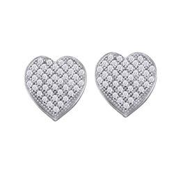 10kt White Gold Round Diamond Heart Cluster Screwback Earrings 1/10 Cttw