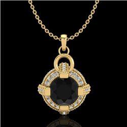 1.57 ctw Fancy Black Diamond Micro Pave Stud Necklace 18k Yellow Gold