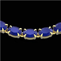 40 ctw Sapphire Eternity Tennis Necklace 14k Yellow Gold