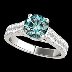 2.11 ctw SI Certified Fancy Blue Diamond Pave Ring 10k White Gold