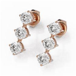 2 ctw Cushion Cut Diamond Designer Earrings 18K Rose Gold