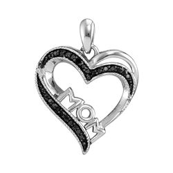 Sterling Silver Round Black Color Enhanced Diamond Mom Mother Heart Pendant 1/10 Cttw