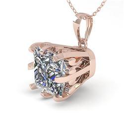 1 ctw VS/SI Princess Diamond Necklace Vintage 18k Rose Gold