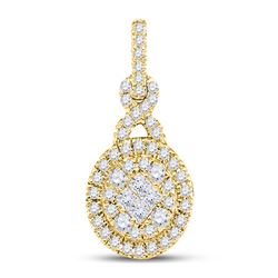 14kt Yellow Gold Princess Diamond Fashion Cluster Pendant 1/2 Cttw