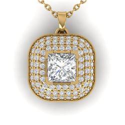 1.60 ctw Princess VS/SI Diamond Art Deco Micro Necklace 14k Yellow Gold