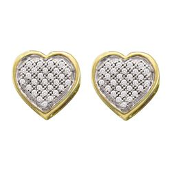 10kt Yellow Gold Round Diamond Heart Cluster Earrings 1/6 Cttw