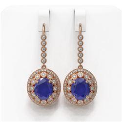 17.22 ctw Sapphire & Diamond Victorian Earrings 14K Rose Gold