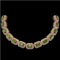 130.05 ctw Tourmaline & Diamond Victorian Necklace 14K Rose Gold