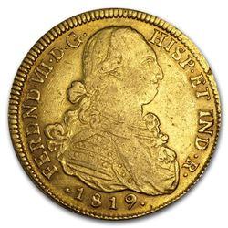 1808-1820 Colombia Gold 8 Escudos Ferdinand VII XF