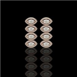 3.84 ctw Marquise Cut Diamond Micro Pave Earrings 18K Rose Gold