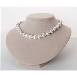 "Strong Silver White South Sea Free-Form Baroque Pearl Necklace, 18"", 10.0-13.2mm, AA+ Quality"