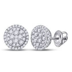 14kt White Gold Round Diamond Halo Cluster Earrings 1/2 Cttw