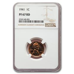 1941 Lincoln Cent PF-67 NGC (Red)