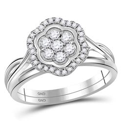 10kt White Gold Round Diamond Flower Cluster Bridal Wedding Engagement Ring Band Set 1/3 Cttw
