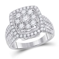14kt White Gold Round Diamond Right Hand Cluster Cushion Ring 1-1/2 Cttw